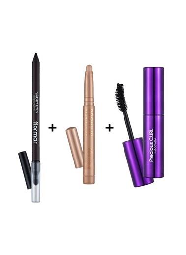 Flormar 3'Lü Makyaj Seti-Suya Dayanaklı Siyah Göz Kalemi+Aydınlatıcı Kahve Kaş Kalemi +Siyah Maskara Renkli